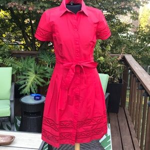 Red Talbots shirt dress size 4p brand new